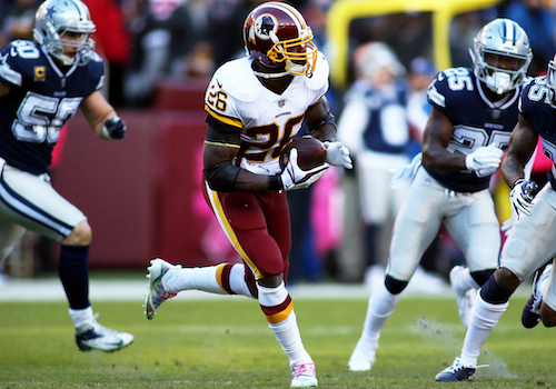 """Washington Redskins running back Adrian Peterson said he gets """"wired up"""" when he gets a chance to play the Dallas Cowboys. (Daniel Kucin Jr./The Washington Informer)"""