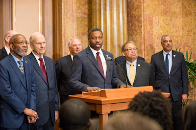 Church of Jesus Christ of Latter-day Saints and NAACP leaders call for greater civility and racial harmony at a news conference.