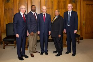 The beginning of their relationship from 2018: The First Presidency of the Church met Thursday, May 17, 2018, with the national leadership of the NAACP.  From left to right, President Dallin H. Oaks; Derrick Johnson, president and CEO of the NAACP;  President Russell M. Nelson; Leon W. Russell, chairman, NAACP board of directors; and President Henry B. Eyring.