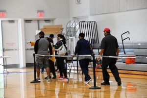 Residents line up to vote at the Southern Regional Technology and Recreation Complex in Fort Washington, Maryland, on June 2, the day of the state's primary election. (Anthony Tilghman/The Washington Informer)