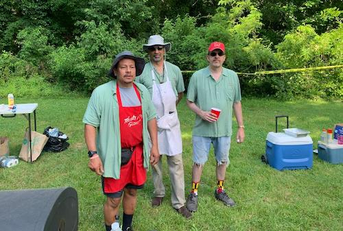 From left: Ken Roberts, Greg Presbury and Tom Leibrand are the grill masters at the annual church picnic.