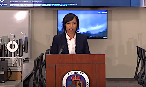 Prince George's County Executive Angela Alsobrooks speaks during a June 11 press conference to announce the county's latest lifting of coronavirus-related restrictions.