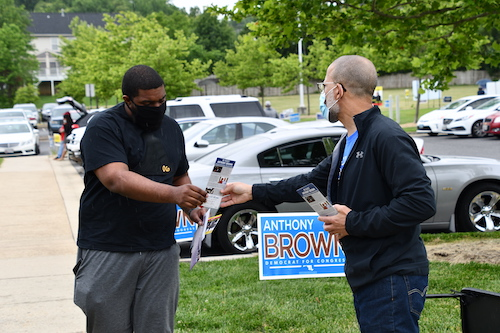 Rep. Anthony G. Brown greets a voter at the polls on June 2, the day of the primary election day in Maryland. (Anthony Tilghman/The Washington Informer)