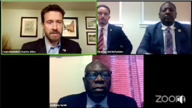 Ward 6 Council member Charles Allen (top left) hosts a hearing on-line to explore the proposed budget for the Office of Neighborhood Safety and Engagement.