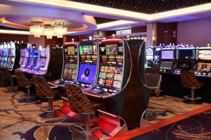 Every other seat will be available for slot machines at MGM National Harbor casino resort in Oxon Hill, Maryland, as it reopens amid the coronavirus pandemic. (Anthony Tilghman/The Washington Informer)