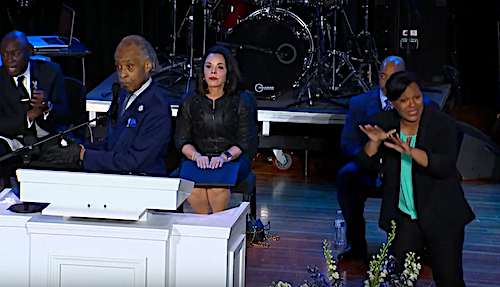 Rev. Al Sharpton speaks during a June 4 memorial service in Minneapolis for George Floyd, a Black man who died when a white police officer knelt on his neck for nearly nine minutes during an arrest.
