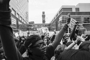 Protests that took place in Baltimore after Freddie Gray was shot (Anacostia Community Museum, Smithsonian Institution, photo by (c)Alejandro Orengo)