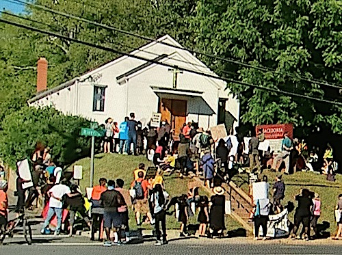 Demonstrators gather at the Macedonia Baptist Church in Bethesda. (Courtesy photo)