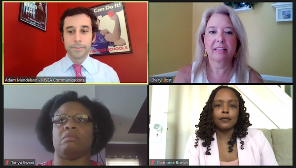 Adam Mendelson, communications director for Maryland State Education Association, Cheryl Bost, president of MSEA, Diamonté Brown, president of Baltimore Teachers Union and Tonya Sweat, Maryland PTA vice president of advocacy, participate in a July 14 virtual press conference on the upcoming fall semester for state schools.