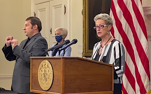 Maryland public schools Superintendent Karen Salmon (right) speaks during a July 22 press conference at the State House in Annapolis. (William J. Ford/The Washington Informer)