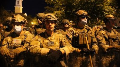 Protests remained peaceful as troops from various state National Guard units took up positions near the White House on June 3. (Courtesy of Military Times)