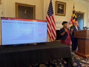 Maryland Gov. Larry Hogan (right) speaks during a July 29 press briefing in Annapolis to give an update of the state response to the coronavirus pandemic. (William J. Ford/The Washington Informer)