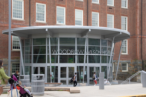 The facade of Woodrow Wilson High School in D.C. (WI photo)