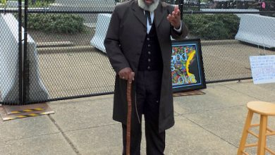 Nathan M. Richardson portrays Frederick Douglass in D.C.'s Lincoln Park on June 26. (Photo by Bruce Guthrie)