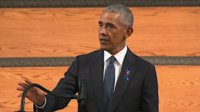 Former President Barack Obama speaks during the funeral service for Rep. John Lewis at Ebenezer Baptist Church in Atlanta on July 30.