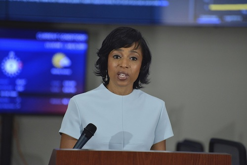 Prince George's County Executive Angela Alsobrooks gives an update on the county's coronavirus cases during a July 9 press conference at the county's Office of Emergency Management in Landover, Maryland. (Rob Roberts/The Washington Informer)