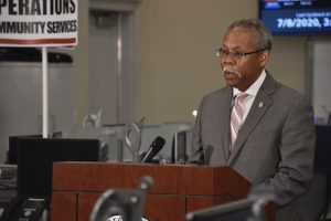 Ernest Carter, chief health officer for Prince George's County, speaks during a July 9 press conference on the coronavirus pandemic at the county's Office of Emergency Management in Landover, Maryland. (Rob Roberts/The Washington Informer)
