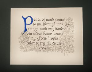 Ira Blount's artistic philosophy is captured in this work of calligraphy he created in 2009. (Smithsonian Anacostia Community Museum, gift of Ira Blount)