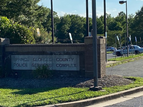 A sign outside Prince George's County Police Department headquarters in Palmer Park (William J. Ford/The Washington Informer)
