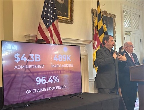 Maryland Gov. Larry Hogan (right) speaks about a massive unemployment scheme that attempted to bilk the government out $501 million during a July 15 press conference in Annapolis. (William J. Ford/The Washington Informer)