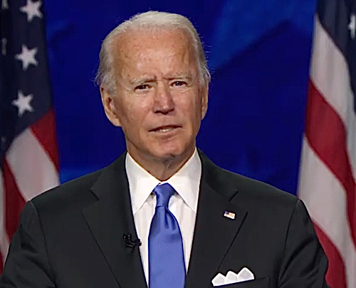 Joe Biden accepts the 2020 Democratic presidential nomination during a speech on the final night of the 2020 Democratic National Convention on Aug. 20.