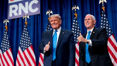 President Trump (left) and Vice President Pence attend the 2020 GOP convention.