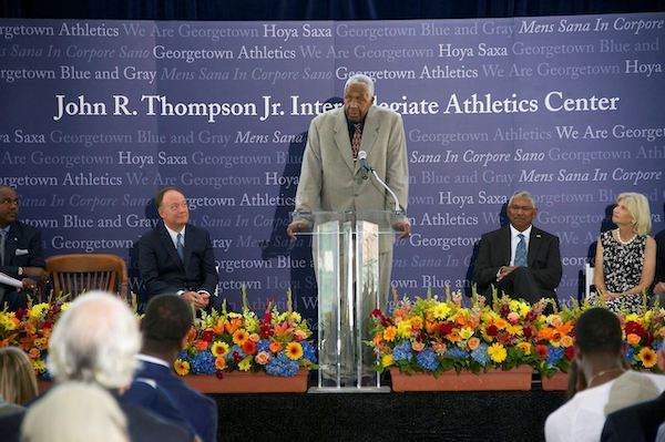 John Thompson Jr. in September 2015 when the United States Basketball Writers Association announced him as the first winner of the Dean Smith Award, named in honor of the legendary North Carolina coach (Courtesy of Georgetown University)
