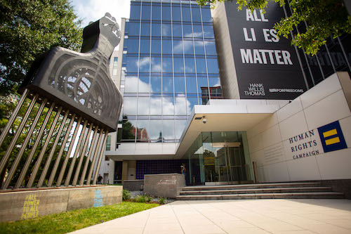 """All Power to All People"" installation at the Human Rights Campaign headquarters in northwest D.C. (Courtesy of Hank Willis Thomas and the Human Rights Campaign)"