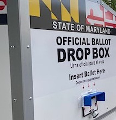 **FILE** A drop-off ballot box in May outside Prince George's County Board of Elections office in Largo, Maryland (William J. Ford/The Washington Informer)