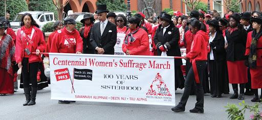 Delta Sigma Theta Sorority Inc. reenacts a suffrage march. (File photo)