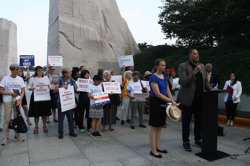 A vigil held at the Martin Luther King Jr. Memorial in southwest D.C. on the anniversary of the Voting Rights Act in August 2019 (Courtesy of theglobepost.com)