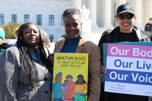 In Our Own Voice advocates outside the Supreme Court during oral arguments in June Medical Services v. Russo
