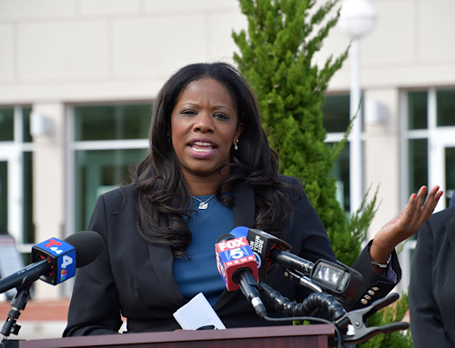 Prince George's County State's Attorney Aisha Braveboy speaks at a press conference on a voting initiative outside the county's Circuit Courthouse in Upper Marlboro on Sept. 30. (Anthony Tilghman/The Washington Informer)