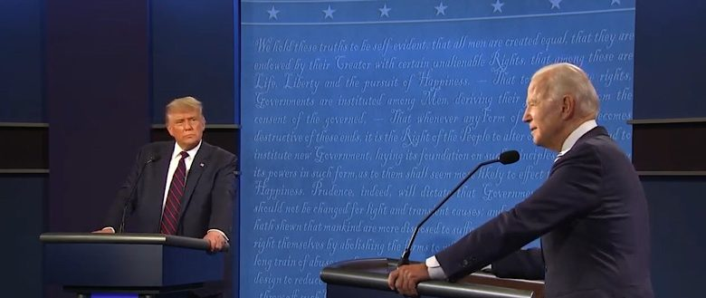 President Trump (left) and Democratic presidential nominee Joe Biden participate in a presidential debate in Cleveland on Sept. 29.