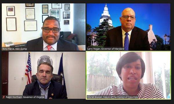 Clockwise from top left: Tony Pierce, partner of Akin Gump, moderates a virtual Capital Region Business Forum on Sept. 18 with Maryland Gov. Larry Hogan, D.C Mayor Muriel Bowser and Virginia Gov. Ralph Northam.