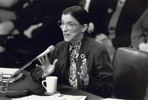 Ruth Bader Ginsburg speaking into microphone at Senate confirmation hearing for her appointment to the Supreme Court in 1993. (loc.gov)