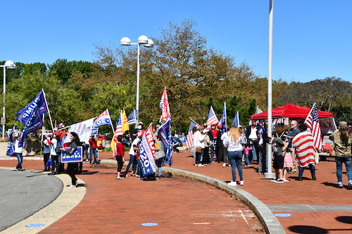 Trump supporters disrupt an early voting site in Fairfax County on Sept. 19. (Anthony Tilghman/The Washington Informer)