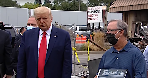 President Donald Trump visits Kenosha, Wis., on Sept. 1 amid ongoing unrest following the Aug. 23 police shooting of Jacob Blake, a 29-year-old Black man paralyzed by seven shots to his back.