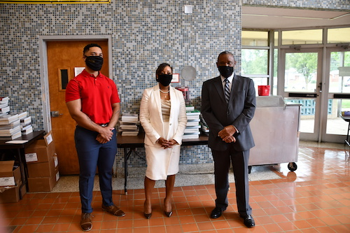 From left: Drew-Freeman Middle School Principal Dallas Lee, Prince George's County Public Schools CEO Monica Goldson and Alvin Thornton, chair of the Prince George's County Public Schools Board of Education, pose for a photo on Aug. 31, the first day of the 2020-21 school year, at Drew-Freeman Middle School in Suitland. (Anthony Tilghman/The Washington Informer)