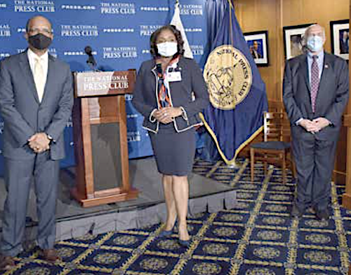 Ed Lewis, director of Public Policy Communications at Toyota, Anita L.A. Jenkins, CEO for Howard University Hospital and Michael Freedman, president of the National Press Club (Robert R. Roberts/The Washington Informer)