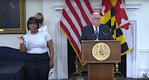 Maryland Gov. Larry Hogan (right) speaks during a Sept. 1 press briefing in Annapolis to give an update of the state response to the coronavirus pandemic.
