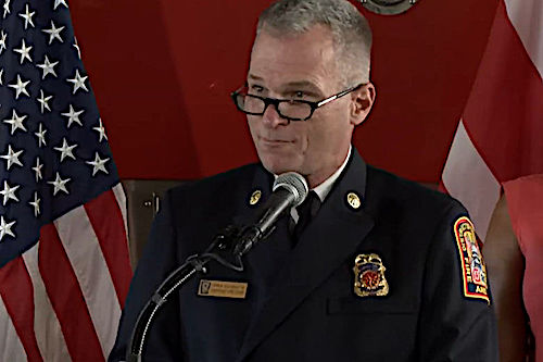 D.C. Fire and EMS Assistant Fire Chief John Donnelly speaks at a Sept. 4 news conference. (Courtesy photo)