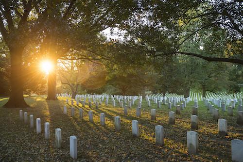 **FILE** Sunrise in Section 35 of Arlington National Cemetery, Arlington, Virginia, on Oct. 25, 2018 (U.S. Army photo by Elizabeth Fraser/Arlington National Cemetery)
