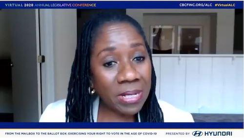 Sherrilyn Ifill, president and director-counsel for NAACP Legal Defense Fund, participates on a virtual voting panel Sept. 3 during Congressional Black Caucus Foundation annual legislative conference.