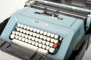 """Author Octavia E. Butler gave this Olivetti 46 typewriter to the Anacostia Community Museum. It dates to the mid-1970s. Butler participated in ACM's exhibition, """"All the Stories Are True: African American Writers Speak,"""" which featured her typewriter, in 2004. Anacostia Community Museum Collection, Smithsonian Institution."""