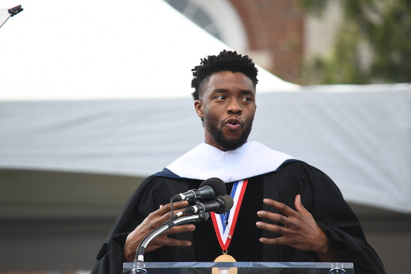 **FILE** Chadwick Boseman gives the 2018 commencement address at his alma mater, Howard University. (Roy Lewis/The Washington Informer)