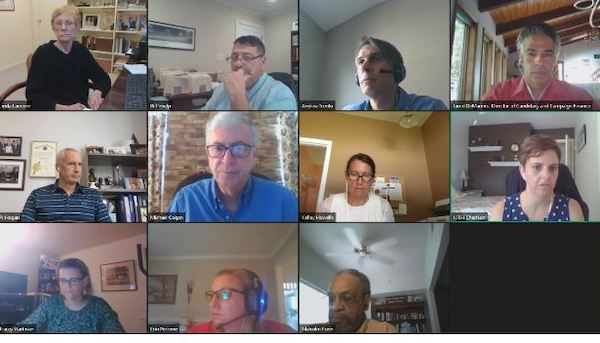 Members of the Maryland Board of Elections and other officials during a virtual meeting on Aug. 28