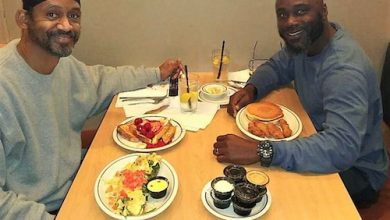 Alonzo E. Turner-Bey (left) and Earl Young Jr. at an IHOP restaurant on Oct. 16, less than 2½ hours after Turner-Bey's release from Jessup Correctional Institution in Jessup, Md. (Courtesy of Earl Young Jr.)