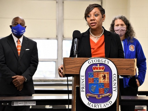 Prince George's County Public Schools CEO Monica Goldson speaks during an Oct. 21 press conference at Drew Freeman Middle School in Suitland, Maryland, in support of a public-private partnership project to build six schools. (Anthony Tilghman/The Washington Informer)