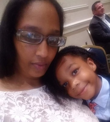 Tyree Stewart and her son Christian (Brigette Squire/The Washington Informer)